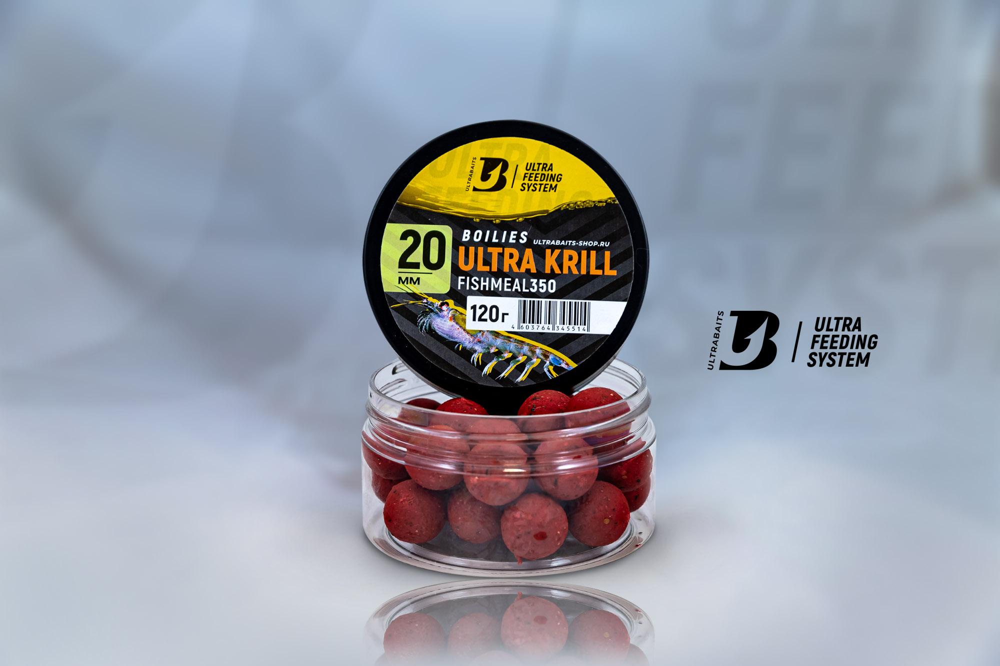 Бойлы насадочные ULTRABAITS FISHMEAL350 (ULTRA KRILL) 20 мм., банка 120 гр.